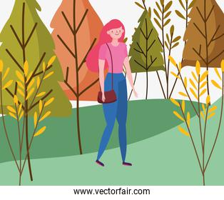 Woman cartoon in autumn vector design