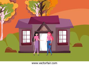 Women cartoons and house in autumn season vector design