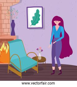 Woman cartoon in home room vector design