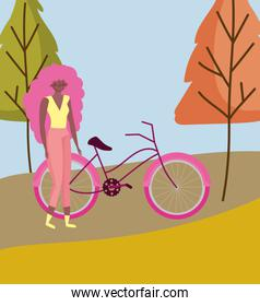 Woman cartoon with bike in autumn vector design