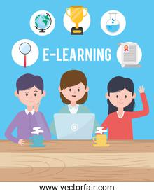 Avatar man and women and learning online concept vector design