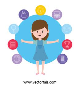 Avatar woman and learning online concept vector design