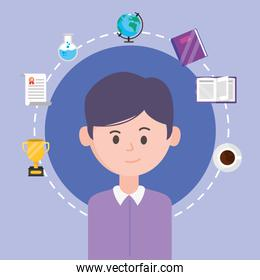 Avatar man and learning online concept vector design