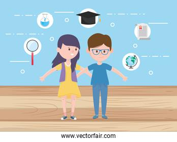 Woman and man of learning online concept vector design