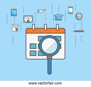 Calendar lupe and social media icon set vector design
