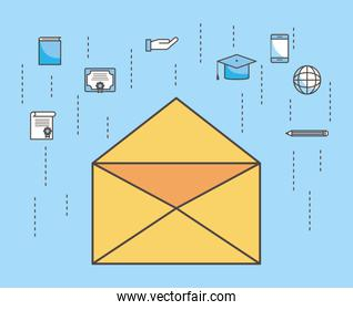 Envelope and social media icon set vector design