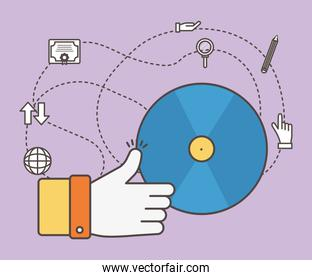 Hand like cd and social media icon set vector design