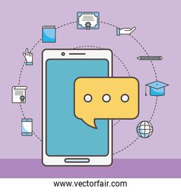 Smartphone and social media icon set vector design