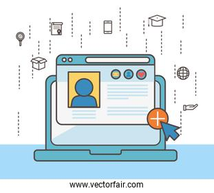 Laptop and social media icon set vector design