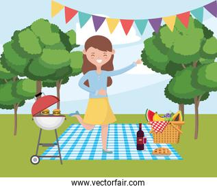 Woman cartoon having picnic vector design