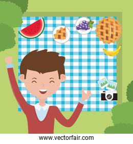 Man cartoon having picnic vector design