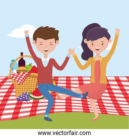 Woman and man cartoon having picnic vector design