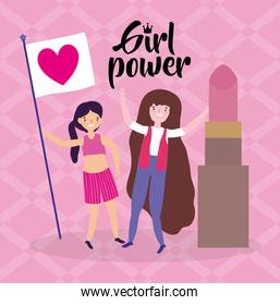 Girls cartoons of power and strong concept vector design