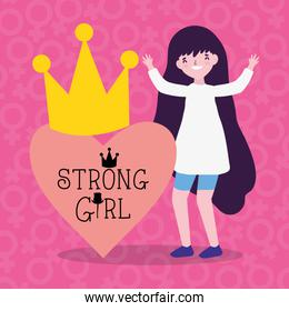 Girl cartoon of power and strong concept vector design