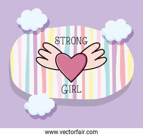 Heart with wings of strong girl concept vector design