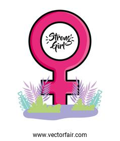Female sign of strong girl concept vector