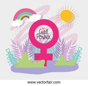 Female sign of strong girl concept vector design