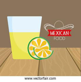 tequila shot and lime mexican food, traditional celebration design