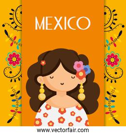 cute woman with flowers in head mexico traditional floral decoration card