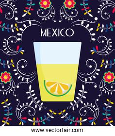 tequila shot with lime flowers floral mexican food, traditional celebration design