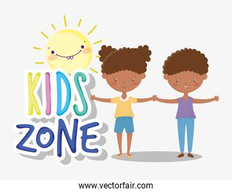 kids zone, happy little boy and girl holding hands
