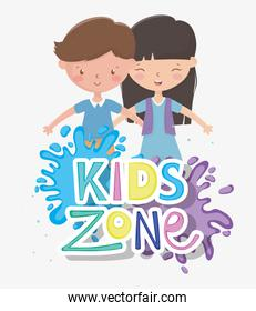 kids zone, happy little boy and girl splashes color paint
