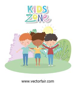 kids zone, cute girl and boys in the meadow sun cartoon