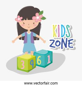 kids zone, cute little girl with flowers in hair and blocks toys