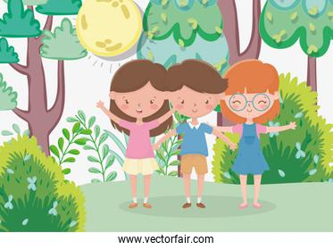 kids zone, cute little boy and girls in the forest