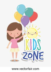 kids zone, cute little girl holding bunch balloons cartoon sun