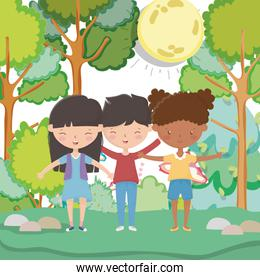 kids zone, cute little boy and girls in the forest trees mushroom stones grass