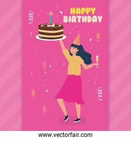 happy birthday, woman with cake and drink celebration party event decoration