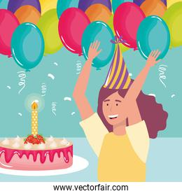 happy birthday, woman with cake candle and balloons celebration party event decoration