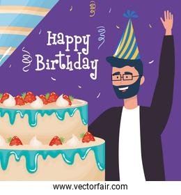 happy birthday, man wearing glasses with cake party hat celebration event decoration