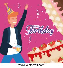 happy birthday, man with sweet cakes and beer celebration party event decoration