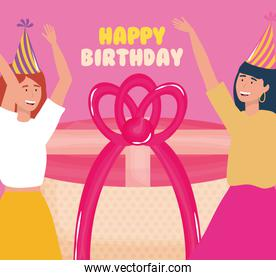 happy birthday, women with gift and party hat celebration event decoration