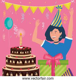happy birthday, woman with cake gift hat balloon celebration party event decoration
