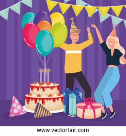 happy birthday, couple with cake gifts balloons hats celebration party event decoration