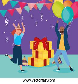 happy birthday, couple with gifts balloons bunting flags and confetti celebration party event decoration