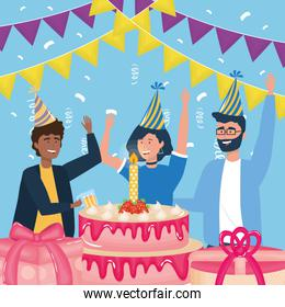 happy birthday, people with party hats cake candle gifts celebration event decoration