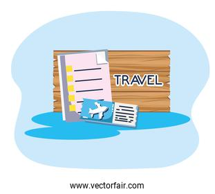 wooden board ticket airline tourist vacation travel