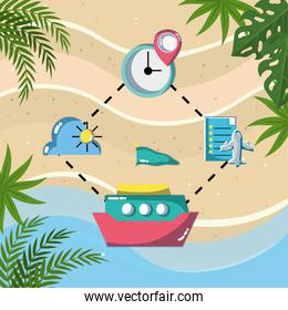 plane boat clock location pin tracking tourist vacation travel
