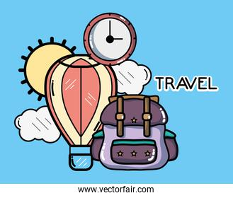 backpack hot air balloon clock tourist vacation travel