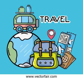 world backpack bus luggage tickets passport tourist vacation travel