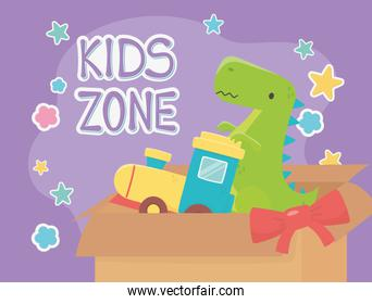 kids zone, filled box train and green dinosaur toys