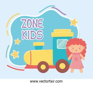 kids zone, rubber train and little doll toys