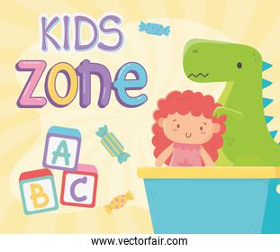 kids zone, green dinosaur and doll in bucket toys