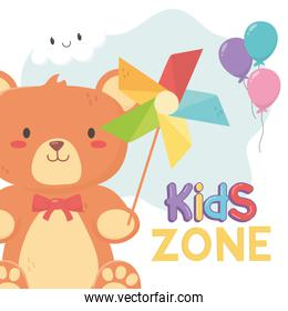 kids zone, teddy bear and pinwheel with stick toys