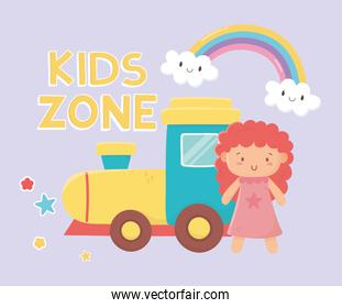 kids zone, rubber train and pink little doll toys