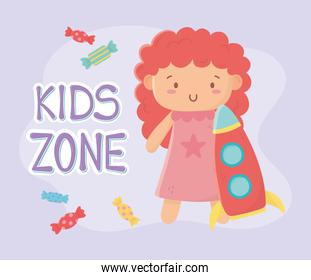kids zone, cute little doll with pink dress and rocket toys